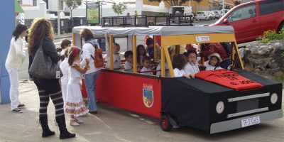 The Carnival bus from the local school, Breña Baja, La Palma