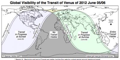 Map showing where the Venus transit will be visible. Credit: NASA