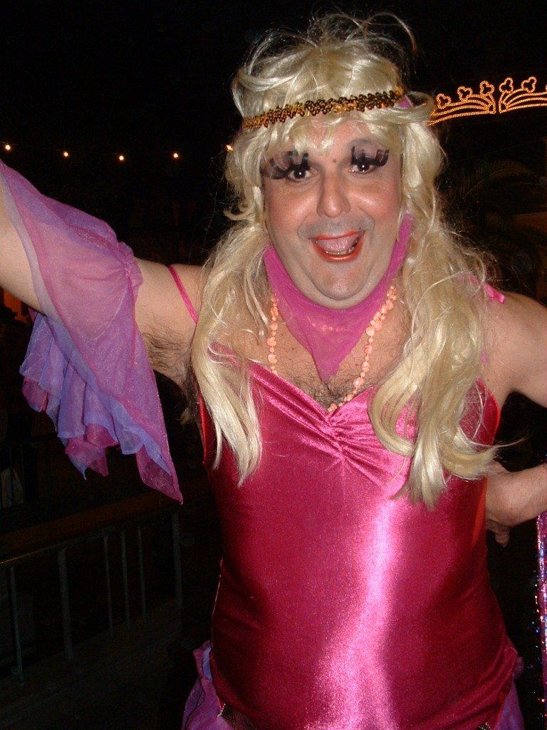 Man in a pink flapper costume and a blonde wig, Ambassador's Parade, Santa Cruz de La Palma, 2006