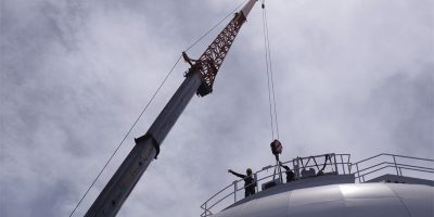 Lifting the dome shutter motor back onto the WHT, Roque de Los Muchachos observatory, La Palma island, Canaries