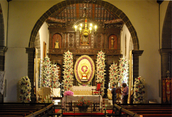 Interior of the church of San Blas, Mazo, La Palma, decorated for Corpus Christi.