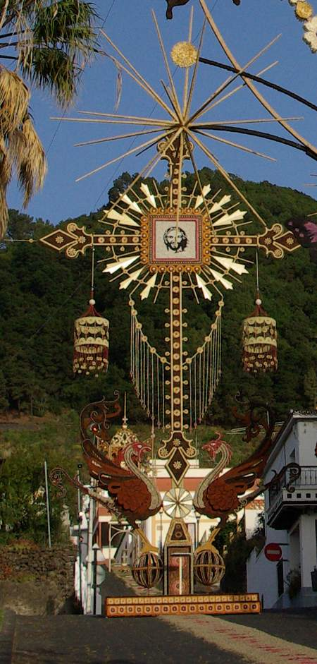 Archway decorated with leaves, petals and seeds for Corpus Christi in Mazo, La Palma, Canary Islands