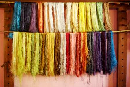 Skeins of dyed silk, El Paso silk museum, La Palma, Canary Islands