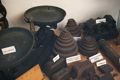 Old weights at the windmill museum, Mazo.
