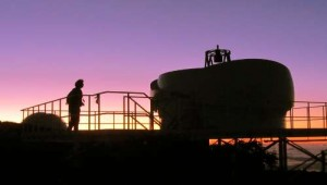 Me and the Superwasp follow-up telescope at sunset, Roque de los Muchachos, La Palma