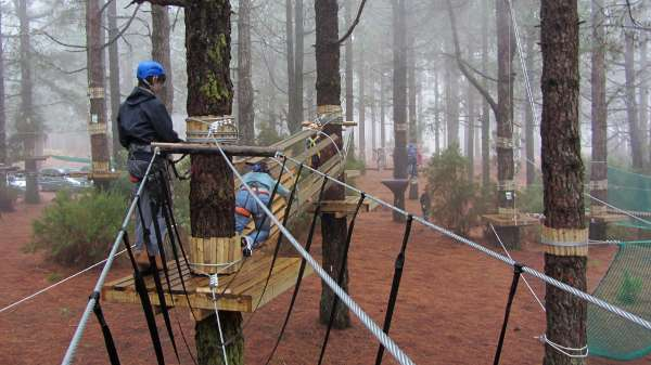 Part of the ropes course at Acropark, Breña Alta, La Palma