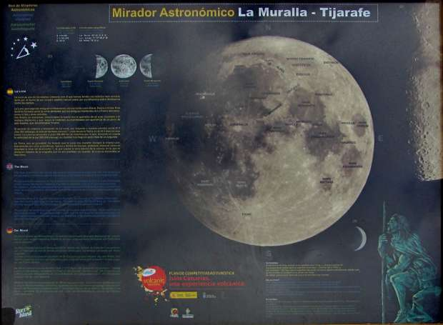 La Muralla viewpoint in Tijarafe has a display panel about the moon.,
