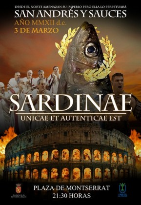 The poster for the sardine's funeral in Los Sauces, La Palma island, 2012