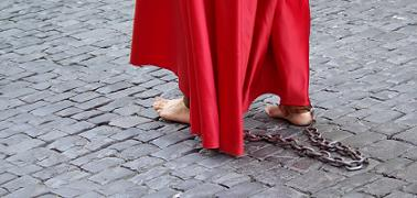 Walking in bare feet with chains, Easter Procession, Santa Cruz de la Palma