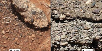 Rounded gravel fragments, or clasts, up to a couple inches (few centimetres), on dry stream beds on Mars and Earth Image credit: NASA/JPL-Caltech/MSSS and PSI