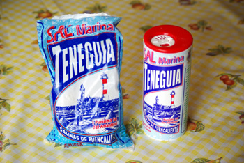 Packets of coarse and fine sea salt Fuencaliente, La Palma island