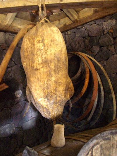 Wine skin made from goat at La Glorieta wine museum, El Paso, La Palma