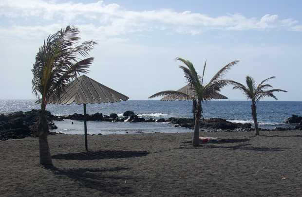 The not-vey-white sand at Salemera beach, Mazo, La Palma Island
