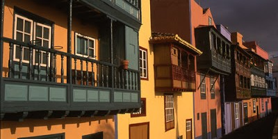 The famous sea-front balconies in Santa Cruz de la Palma