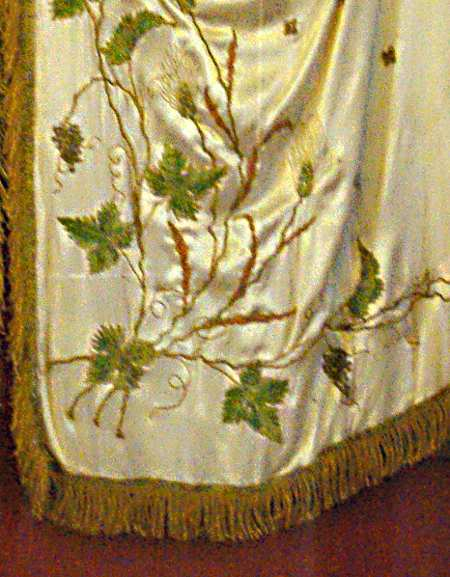 Satin stitch on a priest's vestments in the embroidery museum, Mazo, La Palma