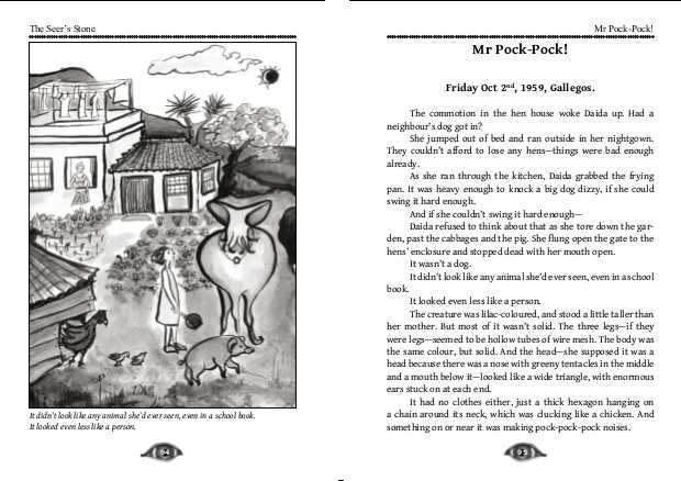 Illustration and first page of Mr Pock-Pock. Click on the image to see a bigger version