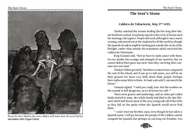 Illustration and first page of The Seer's Stone.