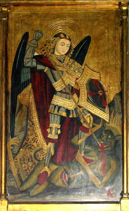 Old painting of St Michael in Tazacorte church
