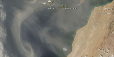 Sahara dust blowing over the Canaries, seen from Space