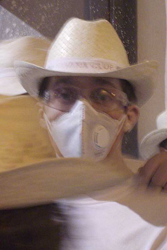 Man wearing a dust mask on his face at Los Indianos, Santa Cruz de La Palma