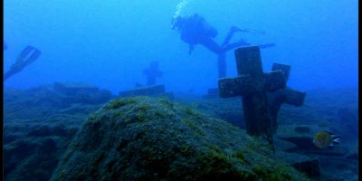 The underwater memorial to the Tazacorte martyrs off the coast of Tazacorte, La Palma. Photo: Christian Carlos Tdo. Rguez