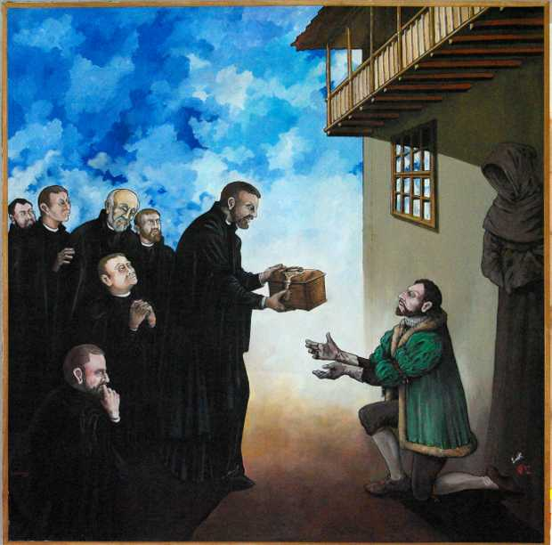 Tazacorte martyrs: Father Acevedo gives the relics to Don Melchor.