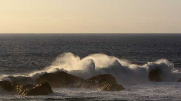 Waves breaking over the stacks at La Zamora, Fuencaliente, La Palma