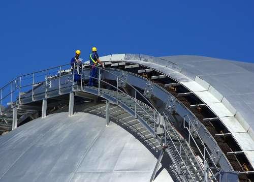 Working on the massive dome shutter of GranTeCan, Roque de los Muchachos, La Palma