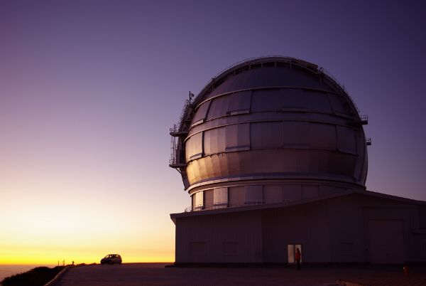 The huge Grantecan telescope at sunset