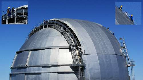Working on the massive dome shutter of GranTeCan, Roque de los Muchachos Observatory, La Palma