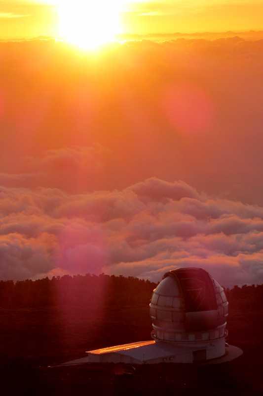 Gran Telescopio Canarias at sunset, Roque de Los Muchachos observatory, La Palma island