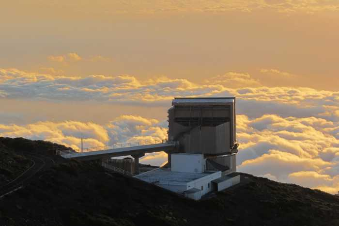 The Galileo telescope at sunset, Roque de Los Muchachos, La Palma island