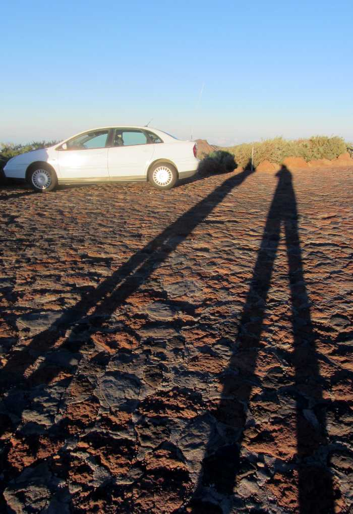 Long, leggy shadows at sunset, Roque de Los Muchachos car park