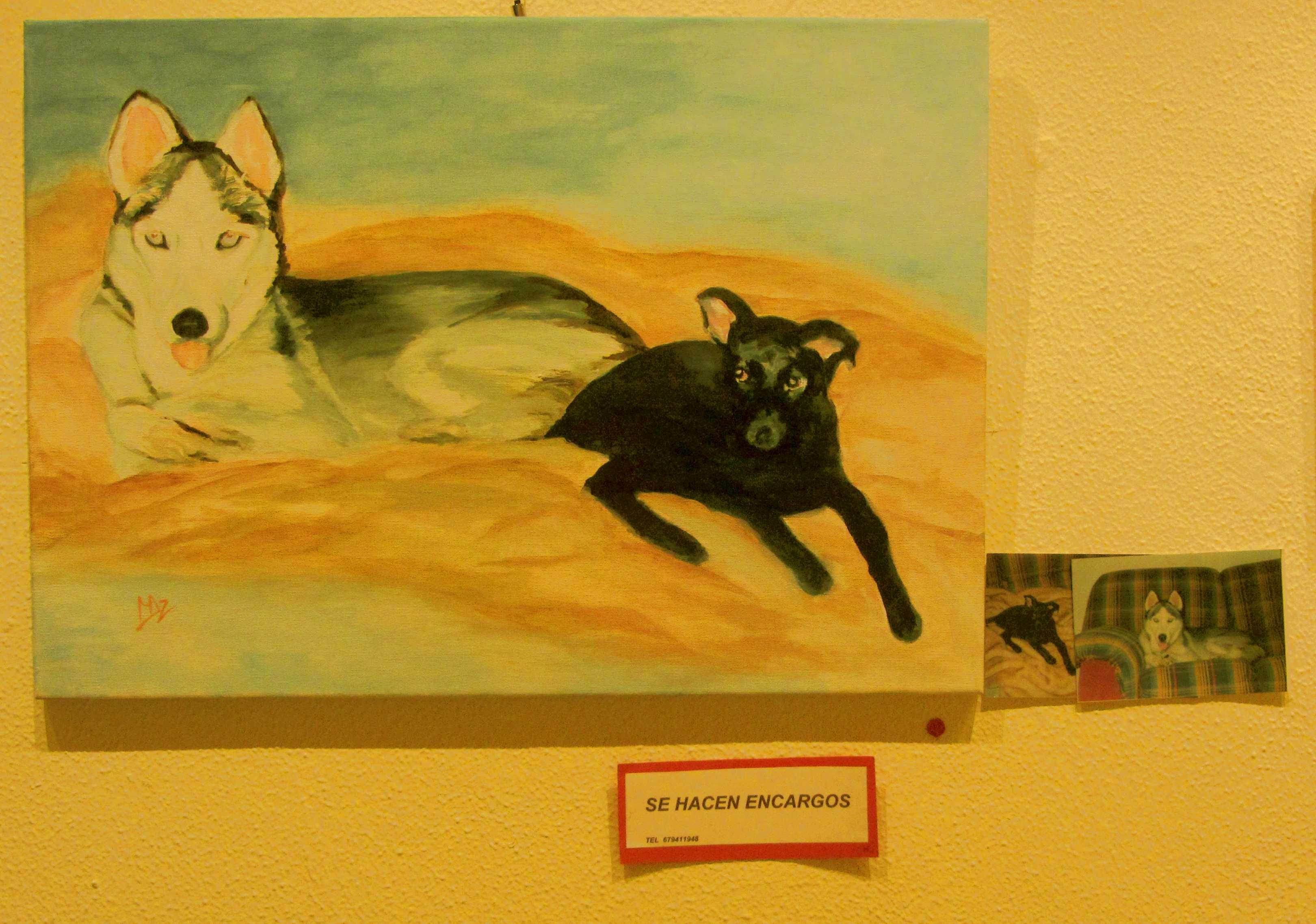 Mariana Arranz's painting of two dogs, painted by request of their owner