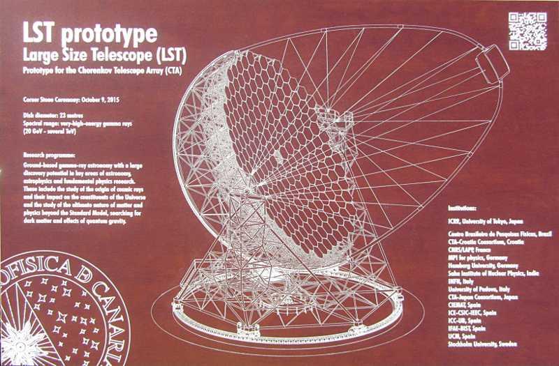 The new plaque for the Large Size Telescope, Roque de Los Muchachos, La Palma