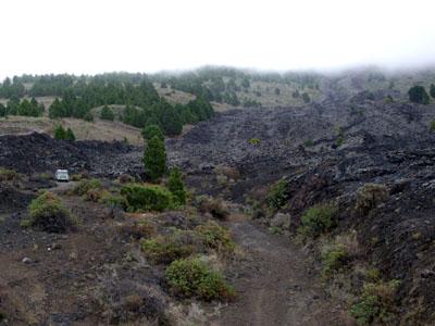 Lava flow in El Paso, La Palma.