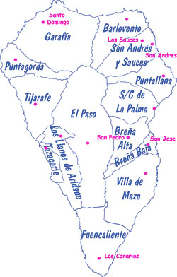 Map of La Palma municipalities