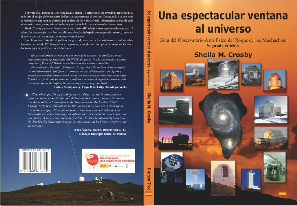 Font and back cover for the second edition of the guide book to the observatory 'Una espedctacular ventana al universo'