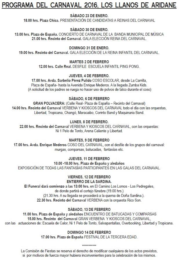 The program for Carnival in Los Llanos de Aridane