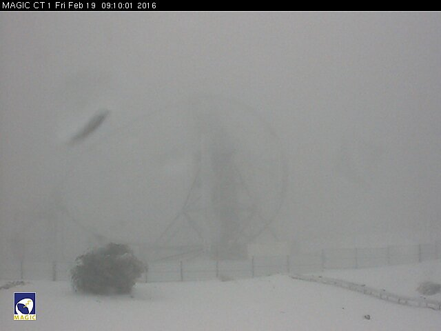 The MAGIC 1 telescope in the fog, Roque de Los Muchachos, La Palma island