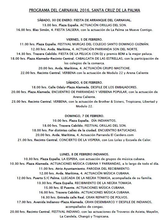 The Carnival program for Santa Cruz de La Palma