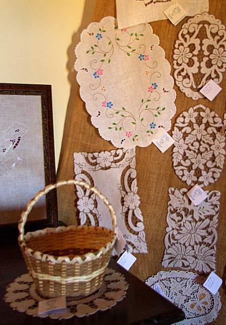 Some of the fine embroidery and drawn-thread work on sale in San Jose de Breña Baja, La Palma