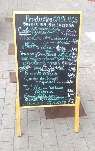 Menu for Vega Art health food shop in Los Cancajos, Brena Baja