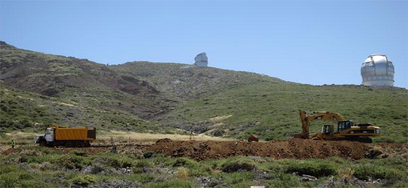 Work on the LST foundations, seen from the nearest helipad, Roque de Los Muchachos, Garafia, La Palma island