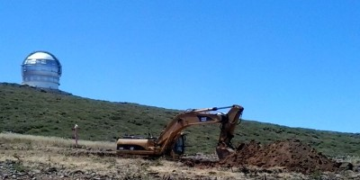 Digging foundations for the Large Size Telescope, Roque de Los Muchachos, La Palma