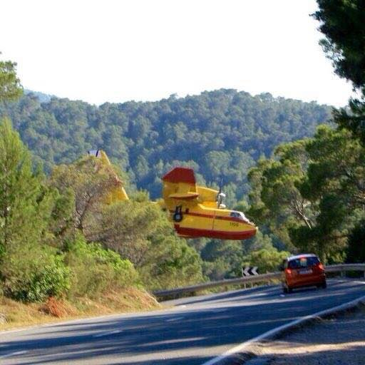 Firefighting plane FAR too close to the trees.