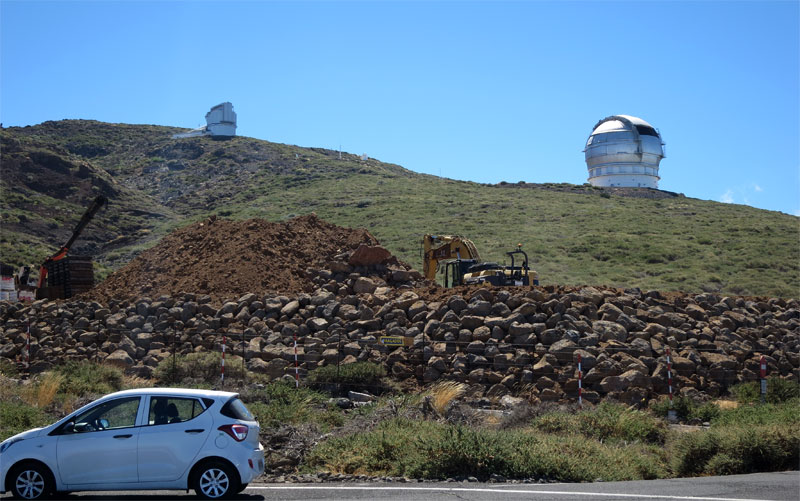 Progress on the retaining wall for the Large Size Telescope, Roque de LosMuchachos, La Palma