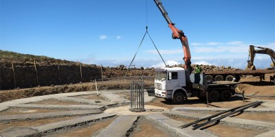 Concrete base installed for the Large Size Telescope, Roque de LosMuchachos, La Palma