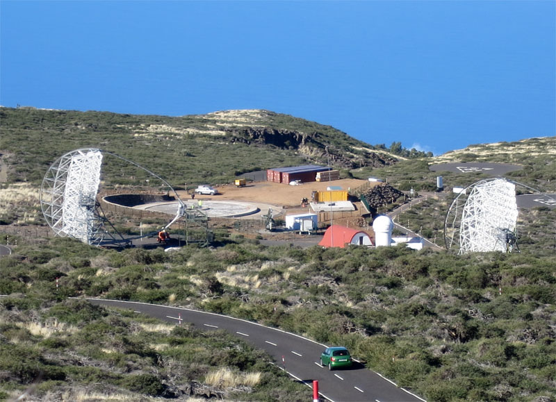 Large Size Telescope site on 03/01/17, Roque de Los Muchachos, Garafia ,La Palma,. The bases for the maintenance tower and the telecope itself seem to be almost complete.