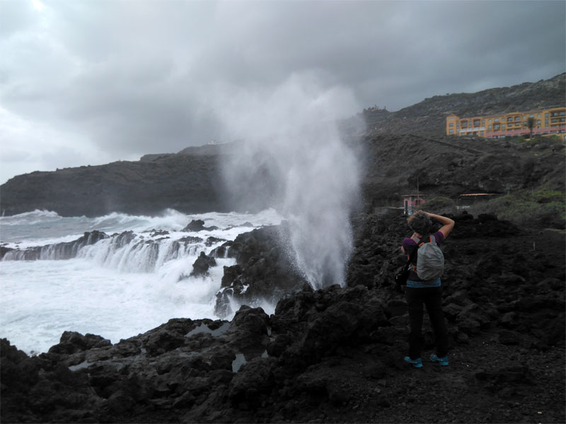 The blow hole at the south end of Los Cancajos, La Palma